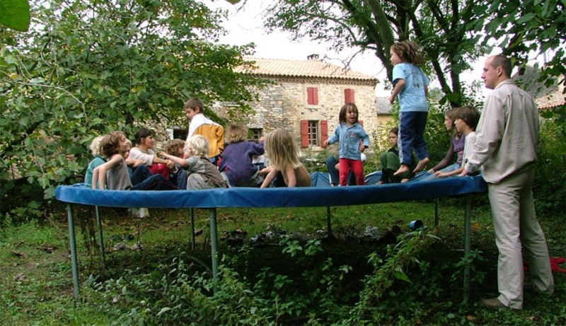 Socialising on the trampoline at a home education meeting